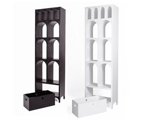 Brand new Aqueduct bookcase in matt white and also black
