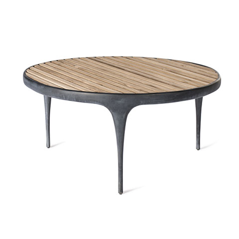 CAST Round Coffee Table with Teak Slats