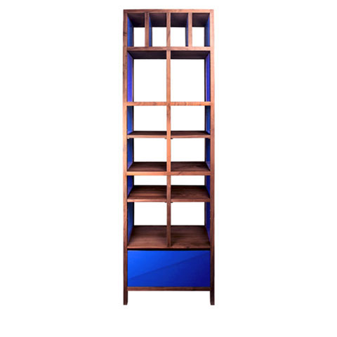 Lacquer and Walnut Bookcase