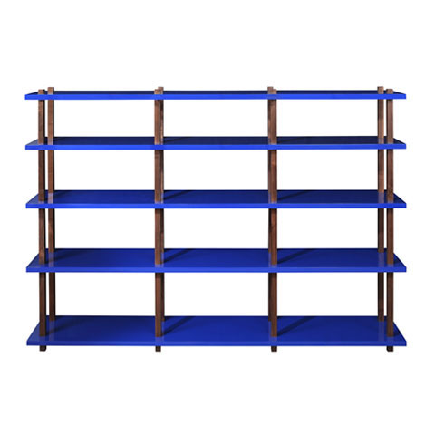 Lacquer and Walnut Shelving