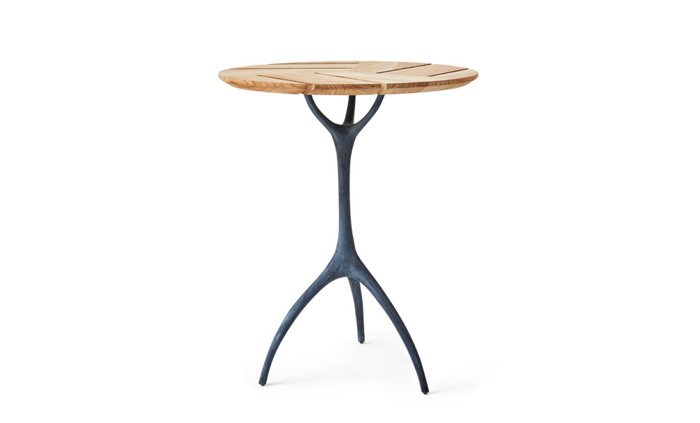 Talon Zinc Round Bistro Table in Teak Slats